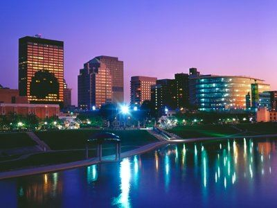 City of Dayton skyline at night with river