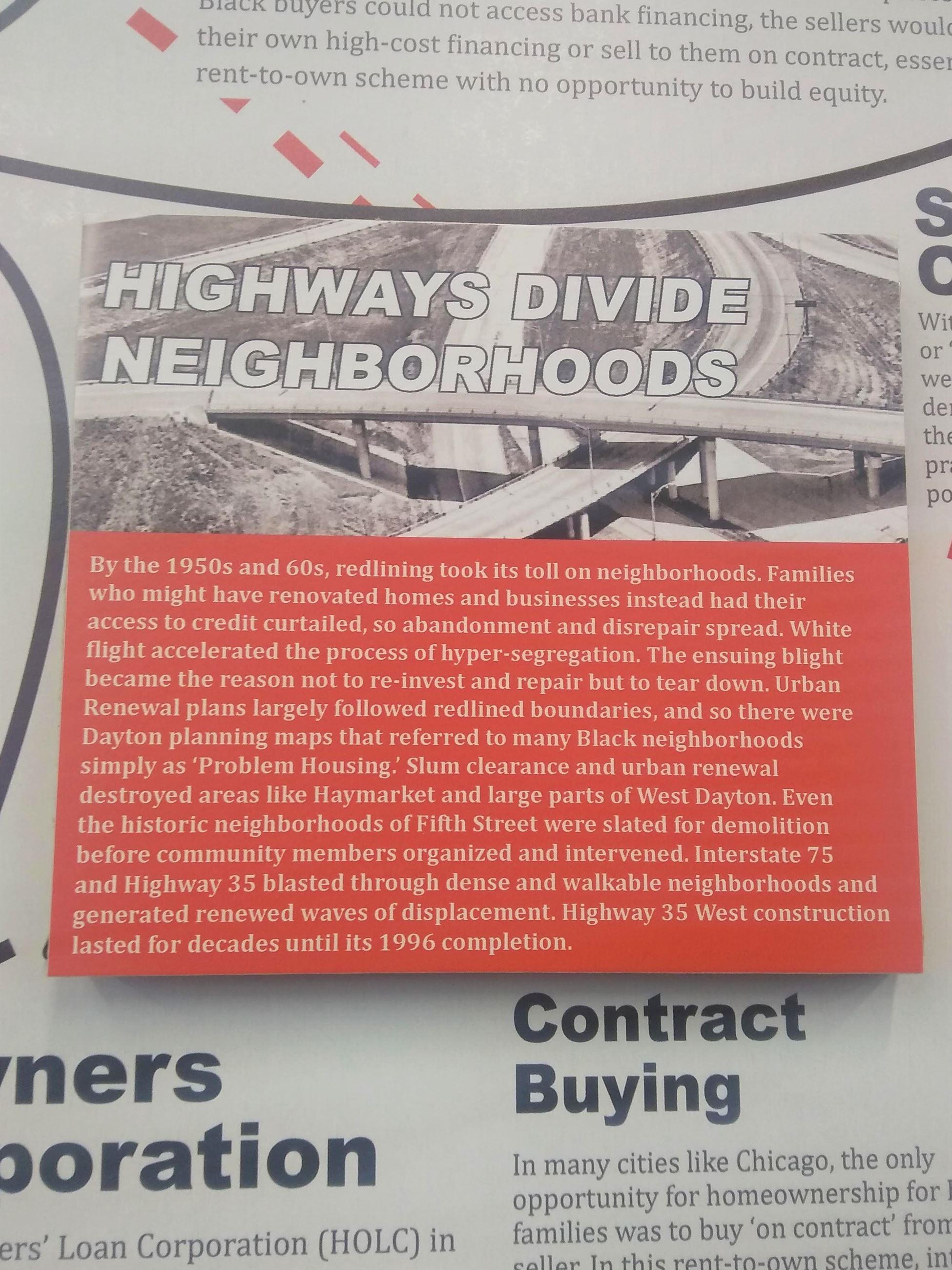 "Image of exhibit item entitled ""Highways Divide Neighborhoods"""
