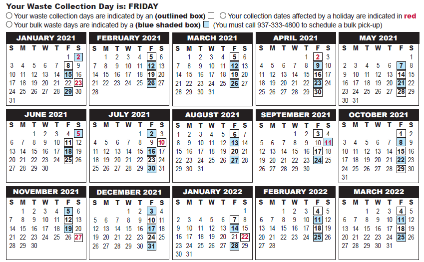 Moraine Waste Collection Calendar for 2019