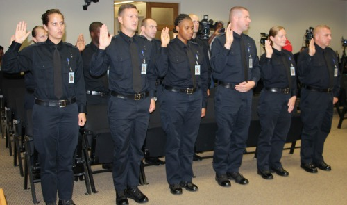 Police recruits swearing in